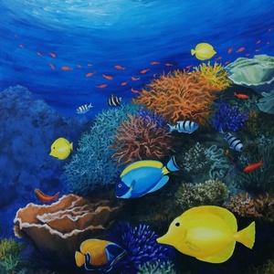 Korallzátony - festmény, Akril, Festmény, Művészet, Festészet, \nAkril festmény feszített vásznon, mérete: 60 x 50 cm.\nSzignózva és eredetigazolással. \n2020.\nKerete..., Meska