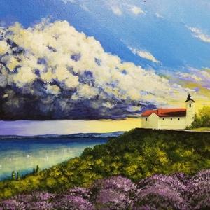 Tihanyi naplemente - festmény, Művészet, Festmény, Akril, Festészet, Akril festmény feszített vásznon, mérete: 30 x 40 cm.\n2020/11.\nSzignózva és eredetigazolással.\nKeret..., Meska