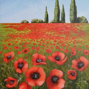 """Pipacsos mező, Művészet, Festmény, Akril, Festészet, \""""Pipacsos mező\""""\nAkril festmény feszített vásznon, mérete: 55 x 38 cm.\n2020.12.\nSzignózva és eredetig..., Meska"""
