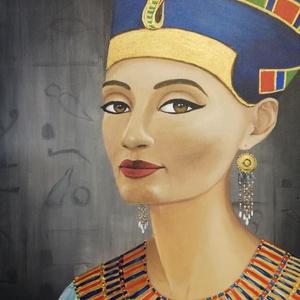 Nefertiti - festmény, Művészet, Festmény, Akril, Festészet, Eredeti akril festmény feszített vásznon, mérete: 40 x 50 cm.\n2021/1.\nSzignózva és eredetigazolással..., Meska