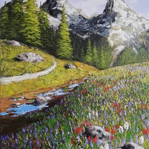 Wildflowers - festmény, Művészet, Festmény, Akril, Akril festmény feszített vásznon, mérete: 55 x 35 cm. 2021. Szignózva és eredetigazolással.  Keretez..., Meska
