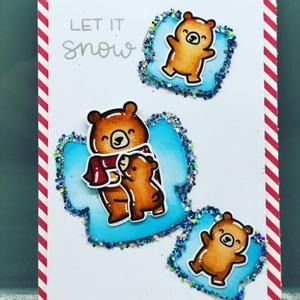 Hóangyalkás mackók, egyedi készítésű képeslap, Művészet, Grafika & Illusztráció, Papírművészet, Minőségi alapanyagokból, kézzel készített karácsonyi képeslap. A figurákat kézzel nyomdázom és színe..., Meska