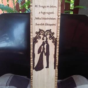 Esküvői ajándék bortartó, Nászajándék, Emlék & Ajándék, Esküvő, Famegmunkálás, Bortartó pirográf technikával díszítve. A megrendelő még kérhet rá nevet,illetve dátumot. A kész dob..., Meska