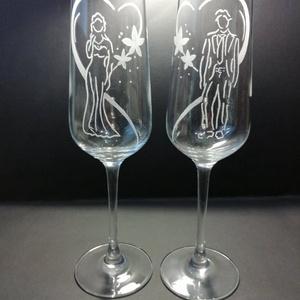 Esküvői pohár, Tálalás, Dekoráció, Esküvő, Gravírozás, pirográfia, Saját kézzel gravírozott pezsgőspohár, esküvői mintával.  Az ár a két pohárra vonatkozik. Szükség es..., Meska