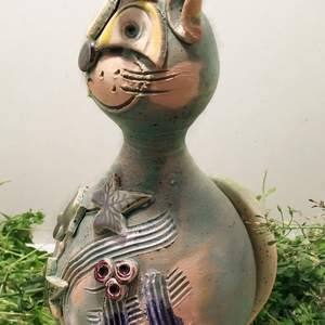 Kerámia macska, Otthon & lakás, Képzőművészet, Dekoráció, Dísz, Szobor, Kerámia, Lakberendezés, Kerti dísz, Kerámia, A cica teste korongozással készült, és hogy igazi cica kinézetű legyen, aprólékos kézi munkával lett..., Meska