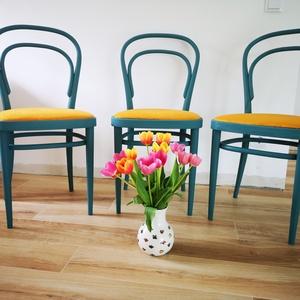 Thonet szék napsárga bársony szövettel, Otthon & Lakás, Bútor, Szék & Fotel, Festett tárgyak, Ez a 3 darab hajlított fából készült thonet szék teljes körű felújításon esett át. Gondosan lecsiszo..., Meska