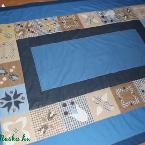 Ágytakaró egyszemélyes ágyra, beige-kék-mogyoró (vancsavarr) - Meska.hu