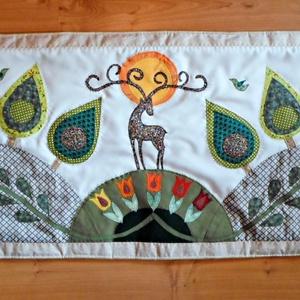 Falikép  szarvasokkal, tulipánokkal 200 x 80 cm, szimmetrikus, részletesen kidolgozott - Meska.hu