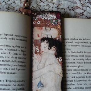 Fa könyvjelző -Klimt, Egyéb, Decoupage, transzfer és szalvétatechnika, Fa könyvjelző Klimt, Anya gyermekével c. képének lenyomatával díszítve.\nAjándéknak is tökélesen megf..., Meska