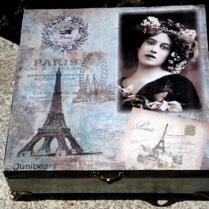 Párizs, nő, szerelem..., Művészet, Festmény, Decoupage, transzfer és szalvétatechnika, Festészet, Vintage stílusú fa doboz a romantikát kedvelőknek.\nA doboz csiszolás, díszítés, festés, és más techn..., Meska