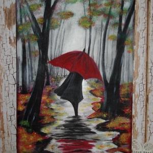 Séta az esőben, Akril, Festmény, Művészet, Festészet, Keretre feszített A 4-es vászonra festettem.\nAlapozás után a képet felvázoltam,  majd utána akrillal..., Meska
