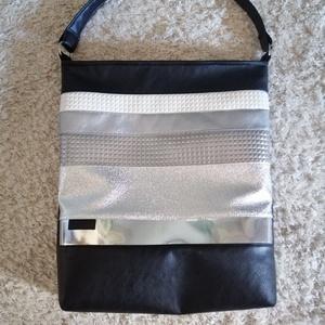 Nagy pakolós táska , Táska & Tok, Kézitáska & válltáska, Nagy pakolós táska, Varrás, Ezüst bőrőkböl kombinált nagy pakolós táska kiváló minőségű Textilbőrböl készült \nMagasság :40cm\nSzé..., Meska