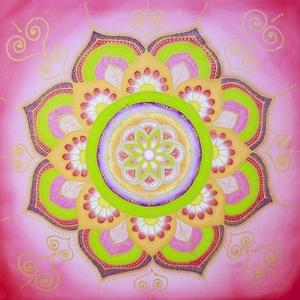 Tavaszi zsongás selyemmandala, Otthon & lakás, Dekoráció, Kép, Lakberendezés, Falikép, Selyemfestés, Egyedi készítésű, 40 X 40 cm-es selyemre festett mandalám.\n\nA narancs, a zöld és a pink erősíti az é..., Meska