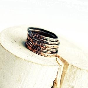 rusztikus rakásolható vörösréz gyűrű (vanillinum) - Meska.hu