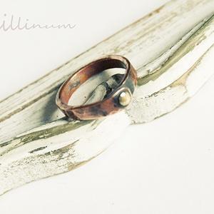 sárgaréz szegecses, rusztikus gyűrű (vanillinum) - Meska.hu