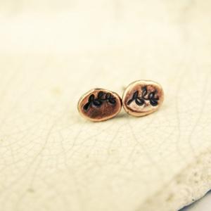 Réz pötty - organikus  vörösréz fülbevaló (vanillinum) - Meska.hu