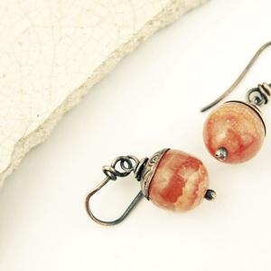narancs kalcit - vörösréz fülbevaló, Ékszer, Fülbevaló, Lógó fülbevaló, Fémmegmunkálás, Ékszerkészítés, Meska