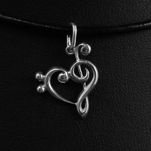 violinkulcs-variáió, Ékszer, Nyaklánc, Medál, Ékszerkészítés, Ötvös, A zene szerelmeseinek készült ez a medál. A zenei kulcsok csodálatosan kiegészítik egymást, és nem c..., Meska