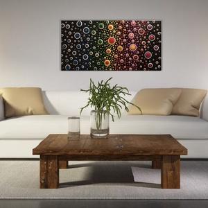 A színek harmóniája, Művészet, Festmény, Akril, Festészet, Akril festmény,\nblob painting technika,\noldalain is festett fakeretes feszített vászon,\nfekete keret..., Meska