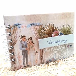 Romantikus Esküvői vendégkönyv A6  , Esküvő, Emlék & Ajándék, Vendégkönyv, Könyvkötés, Papírművészet, Ha valami igazán különleges vendégkönyvet keresel a nagy napra, ajánlom ezt a romantikus hangulatú v..., Meska