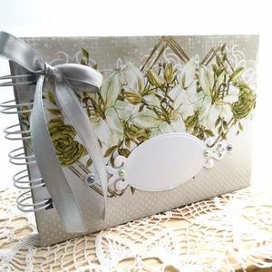 Elegáns Esküvői vendégkönyv II A6 - Liliom, Esküvő, Emlék & Ajándék, Vendégkönyv, Könyvkötés, Papírművészet, Ha valami igazán különleges vendégkönyvet keresel a nagy napra, ajánlom ezt az elegáns hangulatú ven..., Meska