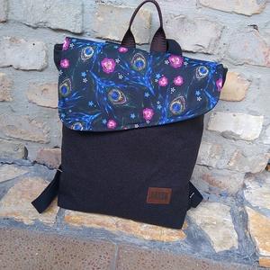 Pávatollas fekete  hátizsák, Hátizsák, Hátizsák, Táska & Tok, Varrás, Szuper színekkel készült ,fiatalos, finom formájú hátizsák.\nErős strapabíró anyagból készült.\n\nPántj..., Meska