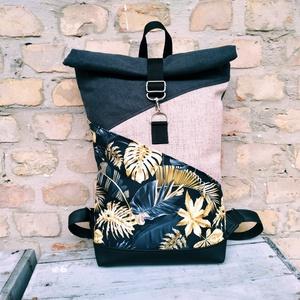 Levél  mintás  roll up hátizsák, Táska & Tok, Hátizsák, Roll top hátizsák, Varrás, Erős bútorvászonból és műbőrből(fekete) készült roll up hátizsák.!A táskák kiváló minőségű anyagokbó..., Meska