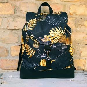 Fekete vízálló pálmaleveles hátizsák  , Táska & Tok, Hátizsák, Hátizsák, Varrás, Meska