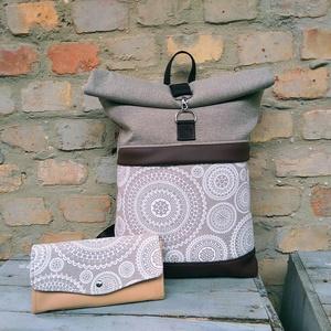 Mandalás roll top hátizsák, Táska & Tok, Hátizsák, Roll top hátizsák, Varrás, A táskáim kiváló minőségű anyagokból készülnek, melyek gondos kiválasztására nagy hangsúlyt fektetek..., Meska