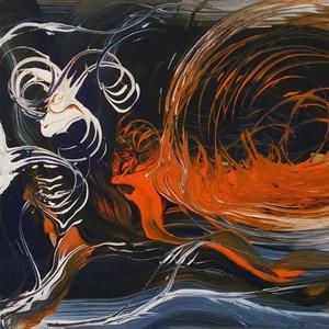 Absztrakt kép, Kép & Falikép, Dekoráció, Otthon & Lakás, Festészet, Eladó 20 x 30 cm -es Absztrakt kép. Farostra festve akrilfestékkel. Keretezve., Meska