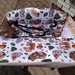 Bevásárlókocsi huzat Erdei állatok, teljesen bélelt, két ponton záródó övvel, Játék & Gyerek, 3 éves kor alattiaknak, Bevásárlókocsi huzat, Varrás, Meska