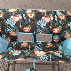 Bevásárlókocsi huzat A dzsungel állatai mentával, teljesen bélelt - játék & gyerek - 3 éves kor alattiaknak - bevásárlókocsi huzat - Meska.hu