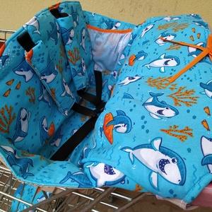 Bevásárlókocsi huzat Mosolygós cápák, Játék & Gyerek, 3 éves kor alattiaknak, Bevásárlókocsi huzat, Varrás, Meska