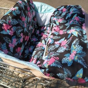 Bevásárlókocsi huzat Flamingók mentával, Játék & Gyerek, 3 éves kor alattiaknak, Bevásárlókocsi huzat, Varrás, Meska