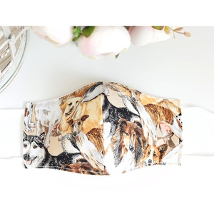 Utolsó darab! Kényelmes felnőtt maszk dupla 2 réteg pamut mosható vasalható újra használható puha gumival kutya, Maszk, Arcmaszk, Férfi & Uniszex, Varrás, Új design a megszokott magas minőségben! Arcra simuló 2 rétegű dán dizájner pamutvászon maszk gyönyö..., Meska