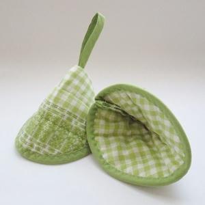 Edényfogó, fedőfogó, fülfogó - almazöld színű, szövött mintával (2 db) (Varrgitka) - Meska.hu