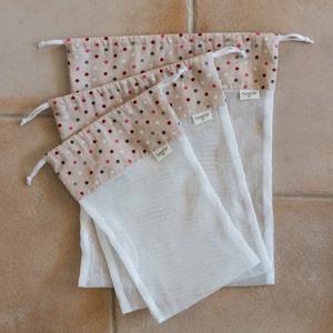 Textil zacskó csomag - S,M,L - Színes pöttyös, Zöldség/Gyümölcs zsák, Bevásárlás & Shopper táska, Táska & Tok, Varrás, Vásárolj a boltban és piacon ilyen csini, újrahasználható textil zacskókba az egyszer használatos mű..., Meska
