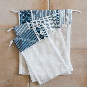 Textil zacskó csomag - S,M,L - Geometrikus, Zöldség/Gyümölcs zsák, Bevásárlás & Shopper táska, Táska & Tok, Varrás, Vásárolj a boltban és piacon ilyen csini, újrahasználható textil zacskókba az egyszer használatos mű..., Meska