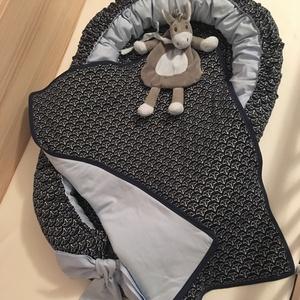 """Vitorlás babafészek takaróval - kék hajó, Gyerek & játék, Baba-mama kellék, Gyerekszoba, Varrás, Tökéletes ajándék újszülöttnek!\n\nMinden kisbaba szeret melegben \""""kuckózni\"""" és ha hozzáérhet kezével,..., Meska"""