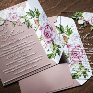Plexi esküvői meghívó bélelt borítékkal, akril meghívó, Meghívó, Meghívó & Kártya, Esküvő, Fotó, grafika, rajz, illusztráció, Színes virágos 10x15 centis plexi meghívó.\nAz ár a borítékot nem tartalmazza, de kiegészítőként rend..., Meska