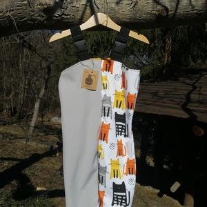 86-os cica mintás kisgyermek softshell kantáros nadrág, Ruha & Divat, Babaruha & Gyerekruha, Nadrág, Varrás, Ezt a kis aranyos világosszürke és cicás mintás kantáros nadrágot softshell anyagból készítettem nek..., Meska