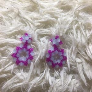 Kék-rózsaszín fülbevaló