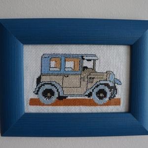 keresztszemes kép, Dekoráció, Otthon & lakás, Kép, Hímzés, 21 * 16 centiméteres, keresztszemes technikával készült autót ábrázoló kép. \nKék színű, fa képkeretb..., Meska