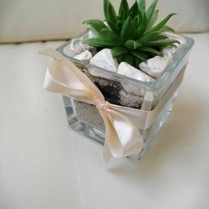 Kövirózsás köszönőajándék esküvőre, Esküvő, Emlék & Ajándék, Köszönőajándék, Virágkötés, Áttetsző üveg kockába ültetett kövirózsa.  Esküvőre köszönetajándéknak,vagy egyéb dekorációs célra. ..., Meska
