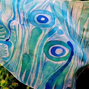 Kék harmónia, Ruha & Divat, Sál, Sapka, Kendő, Sál, Selyemfestés, Kézzel festett egyed hernyóselyem sál.\nTengerkék árnyalatokkal,csíkokkal és egymásba fonódó körökkel..., Meska