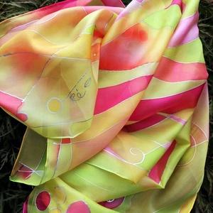 Aranyló nyár-Kézzel festett selyem stóla, Ruha & Divat, Sál, Sapka, Kendő, Stóla, Selyemfestés, Kézzel festett ,kontúrozott selyemstóla a nyár színeivel\n45x180 cm\nAnyaga habotai selyem\n, Meska