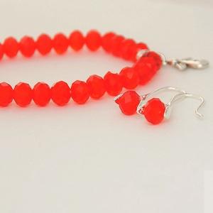 Piros üveg szett / Red glass set, Ékszer, Ékszerszett, Ékszerkészítés, Meska