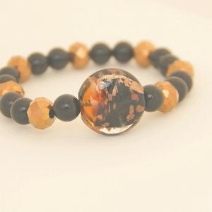 Aranyló fekete karkötő / Goldy black bracelet, Ékszer, Karkötő, Ékszerkészítés, Meska