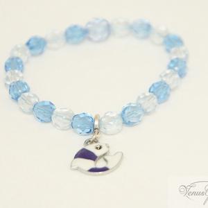Kristály csillogás karkötő / Crystal-sparkling bracelet, Ékszer, Karkötő, Ékszerkészítés, \nCsiszolt világoskék és sötétebb kék üveg gyöngyökből készült karkötő, amelyet egy fehér-kék halacsk..., Meska