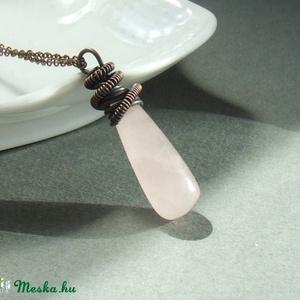 Rózsakvarc réz nyaklánc rózsaszín ásvány ékszer (VeraNasfa) - Meska.hu